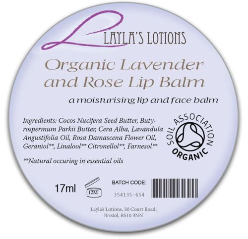 Sample of Organic Cosmetics Labelling by Soil Association