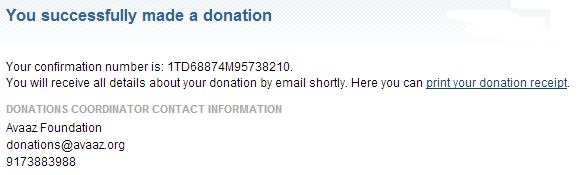 Avaaz Donation - July 2013