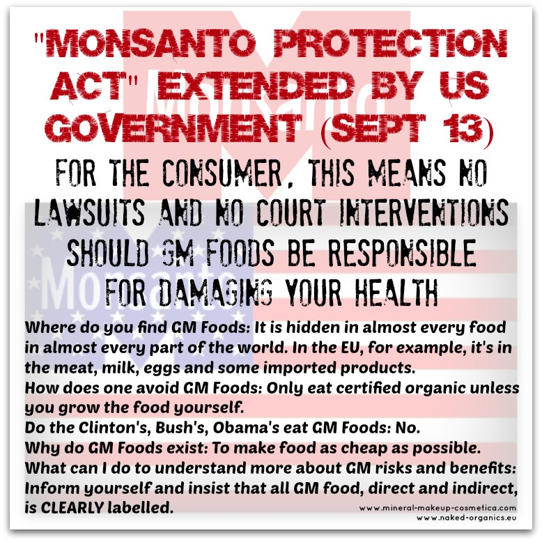 Monsanto Protection Act Extended by US Government