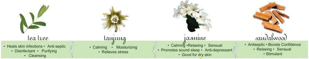 Tea Tree, Tanjung, Jasmine and Sandalwood Essential Oils