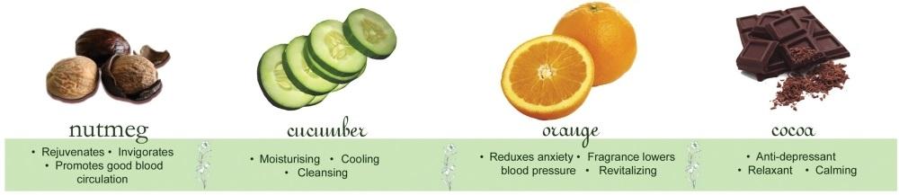 Nutmeg, Cucumber, Orange and Cocoa Essential Oils